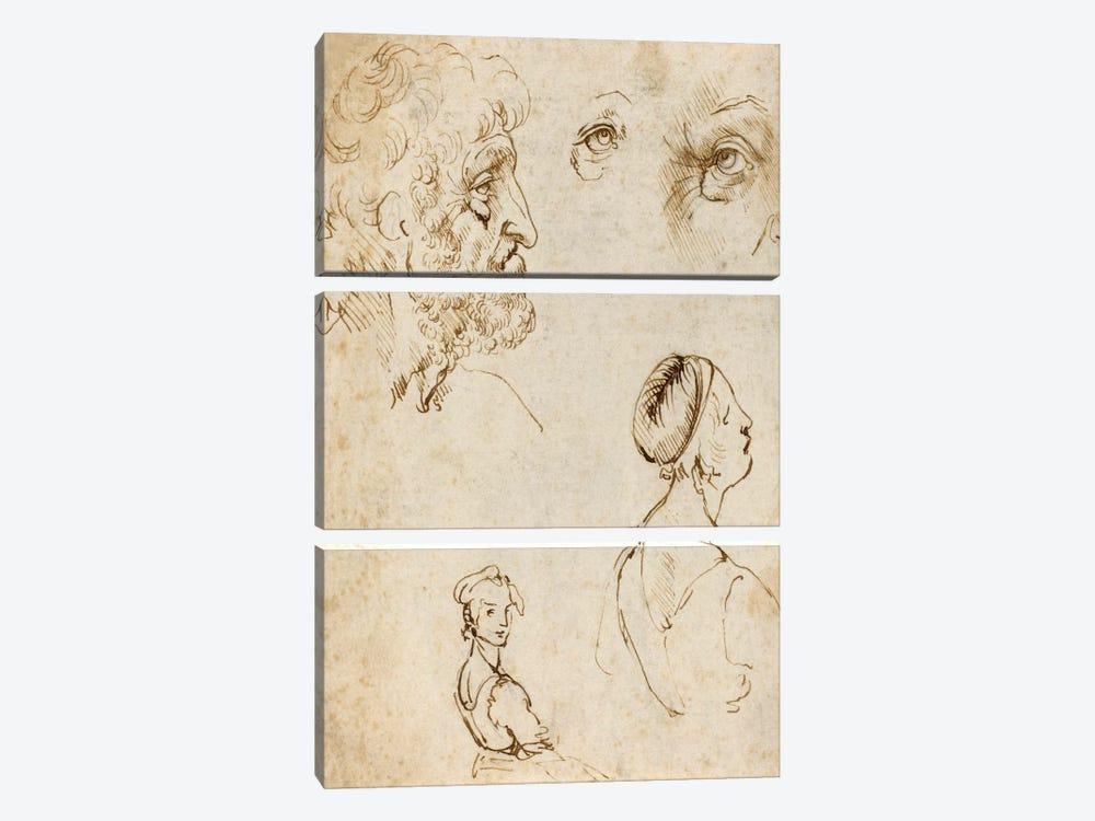 Sheet of Studies (Recto) by Leonardo da Vinci 3-piece Canvas Art