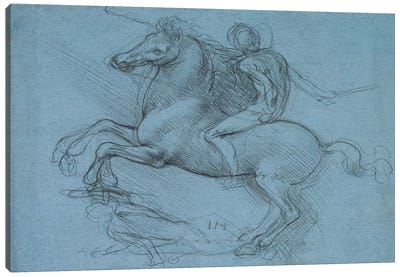 A Study for an Equestrian Monument, 1490 by Leonardo da Vinci Canvas Wall Art