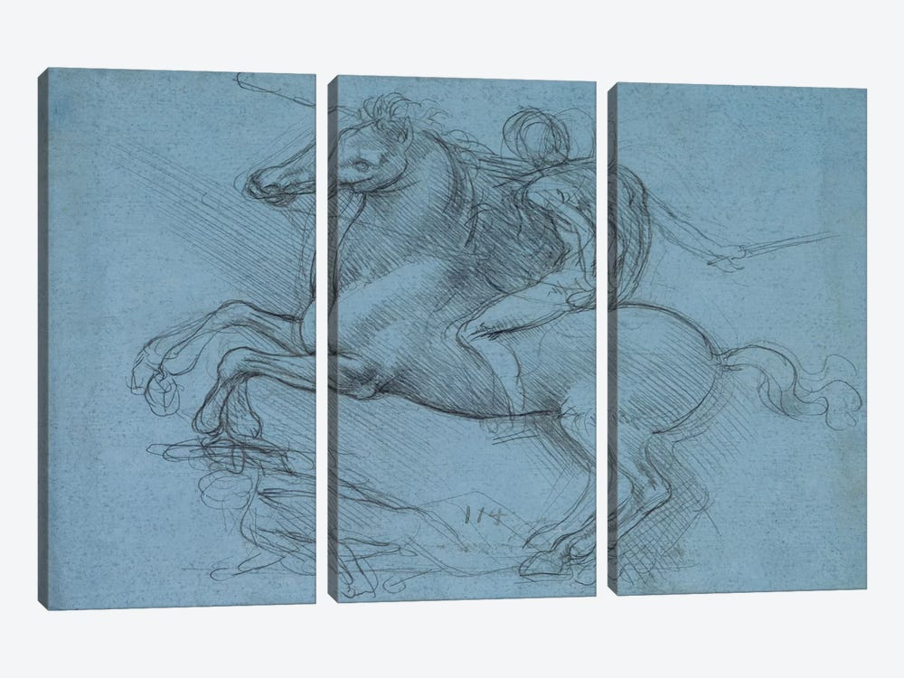A Study for an Equestrian Monument, 1490 3-piece Canvas Artwork
