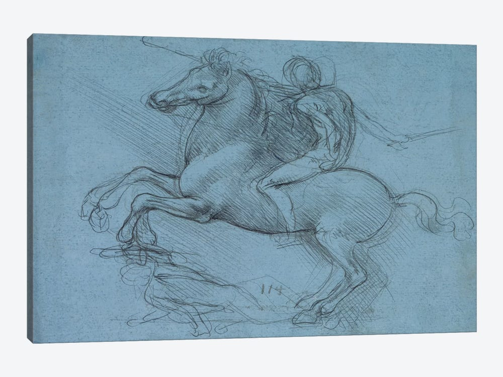 A Study for an Equestrian Monument, 1490 by Leonardo da Vinci 1-piece Canvas Art