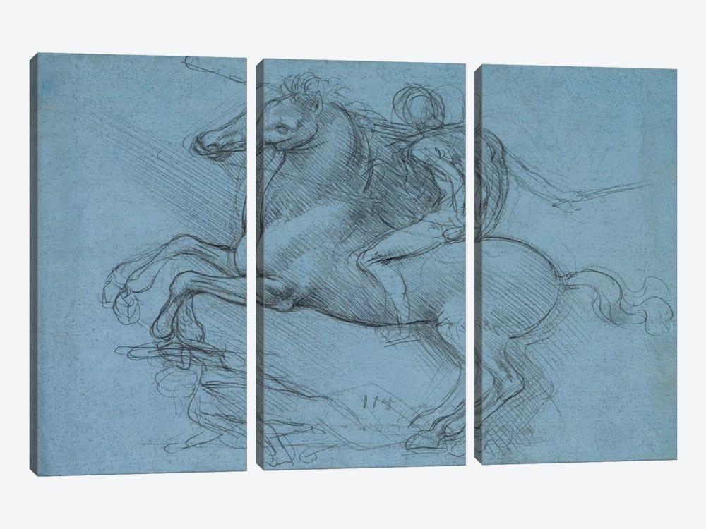 A Study for an Equestrian Monument, 1490 by Leonardo da Vinci 3-piece Canvas Artwork