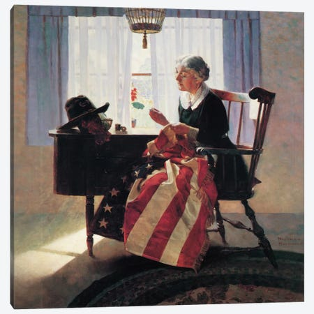 Mending The Flag Canvas Print #1540} by Norman Rockwell Art Print