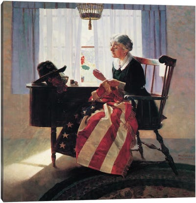 Mending The Flag Canvas Art Print