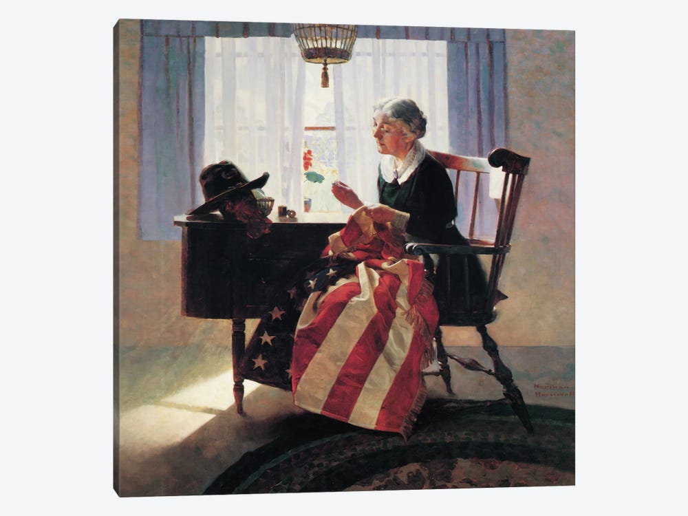 Mending The Flag by Norman Rockwell 1-piece Canvas Artwork