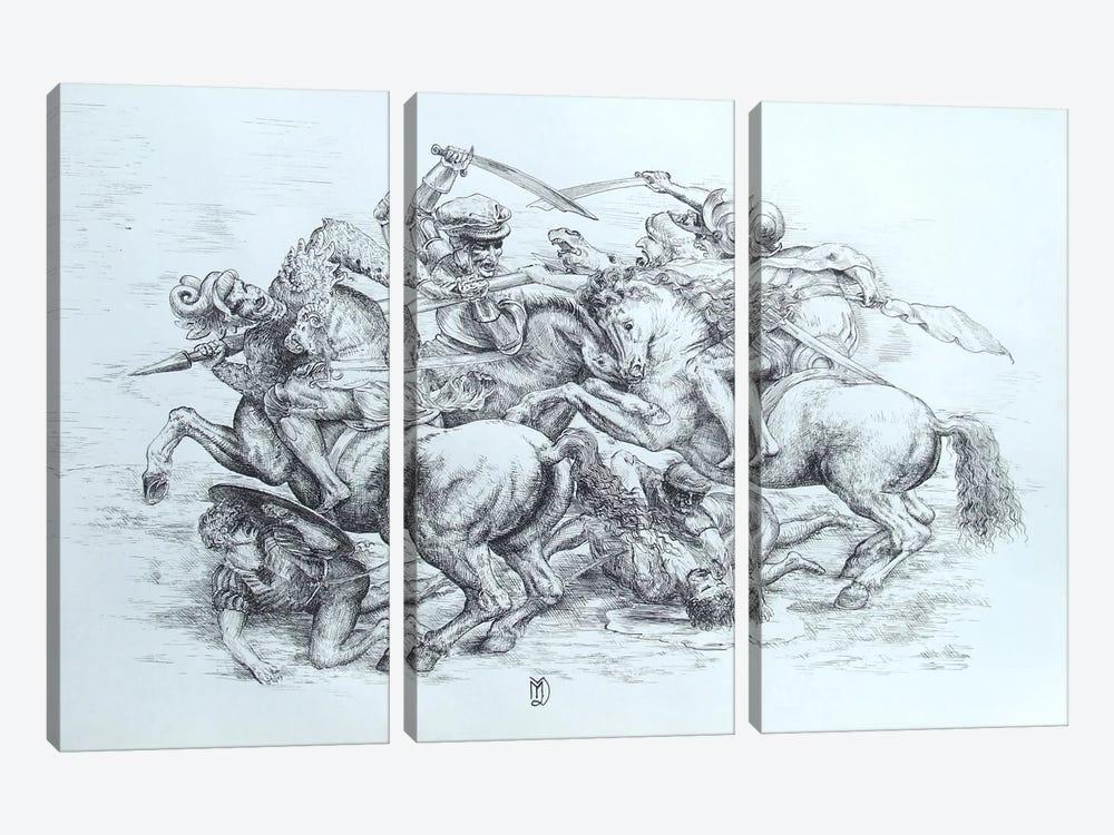 The Battle of Anghiari, 1505 by Leonardo da Vinci 3-piece Canvas Art Print
