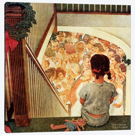 Little Girl Looking Downstairs at Christmas Party Canvas Print #1541} by Norman Rockwell Canvas Art Print