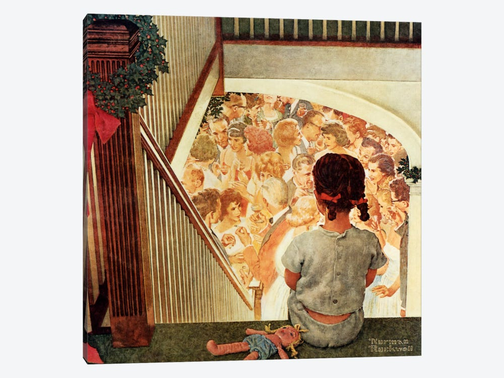 Little Girl Looking Downstairs at Christmas Party by Norman Rockwell 1-piece Canvas Art Print