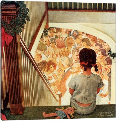 Little Girl Looking Downstairs at Christmas Party Canvas Art Print