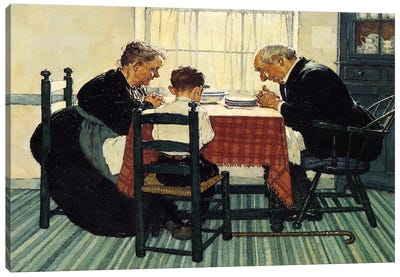 Family Grace (Pray) by Norman Rockwell Art Print