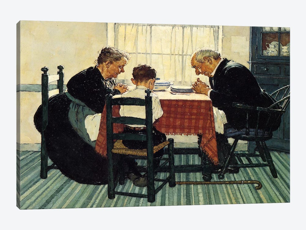 Family Grace (Pray) by Norman Rockwell 1-piece Canvas Wall Art