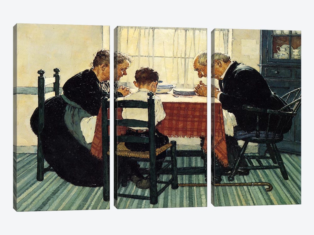 Family Grace (Pray) by Norman Rockwell 3-piece Canvas Wall Art