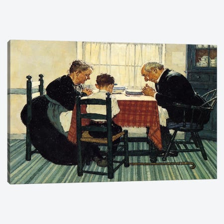 Family Grace (Pray) Canvas Print #1542} by Norman Rockwell Art Print