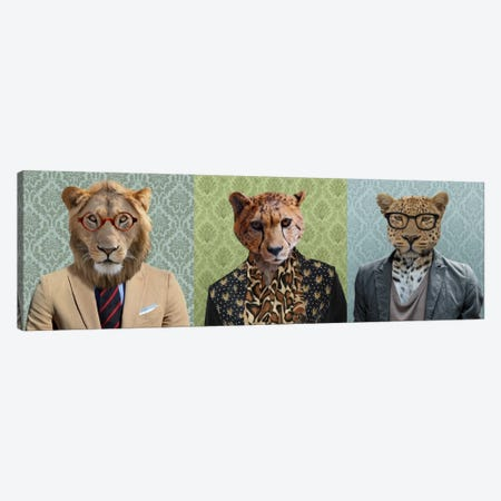 Dressed Up Wild Cat Trio Canvas Print #15439} by 5by5collective Canvas Print