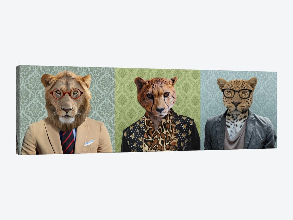 Dressed Up Wild Cat Trio by 5by5collective 1-piece Canvas Art Print