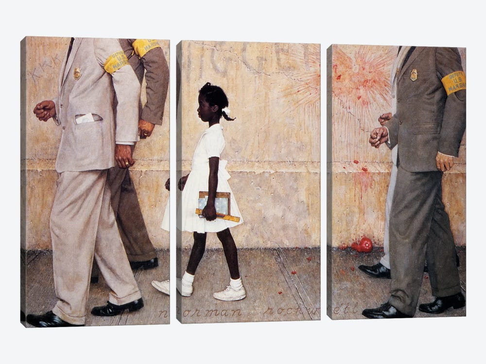The Problem We All Live With (Ruby Bridges) by Norman Rockwell 3-piece Canvas Print