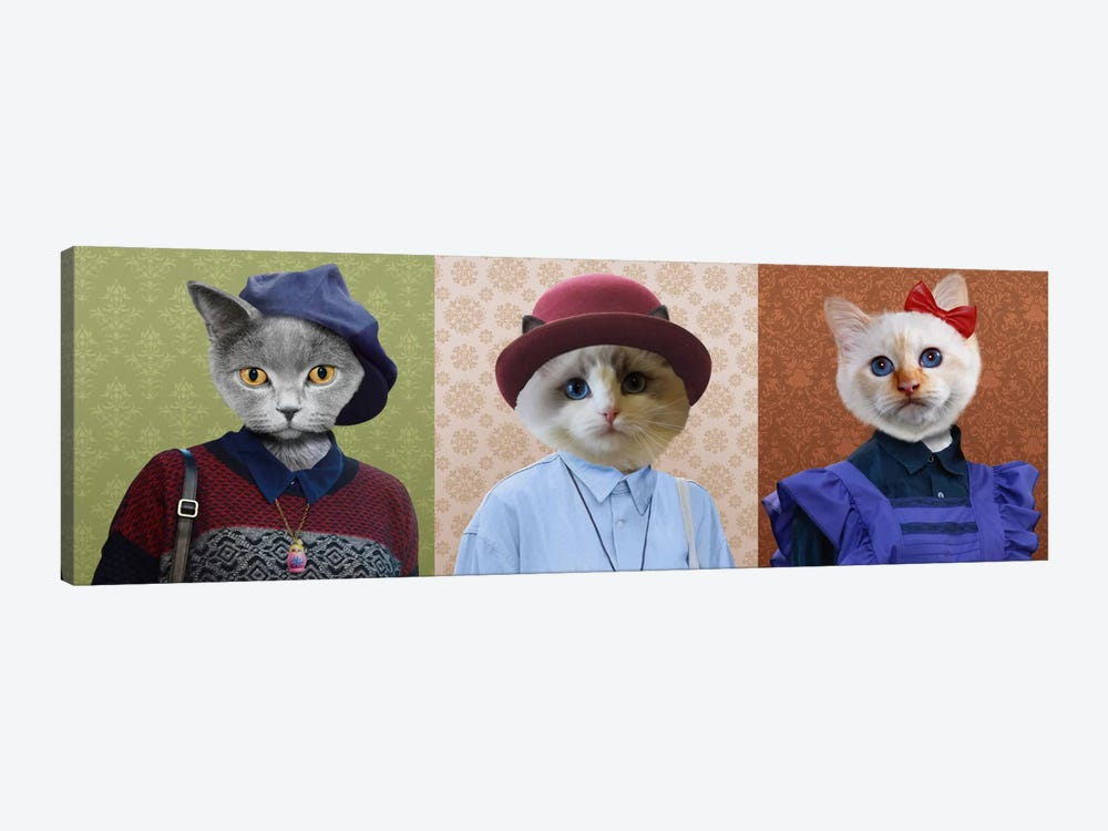 Dressed Up Cat Trio by 5by5collective 1-piece Art Print