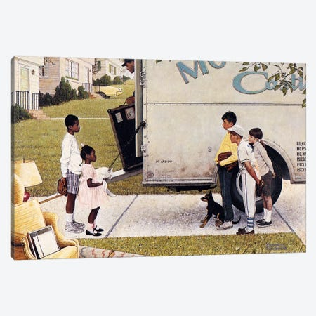 Moving In (New Kids In The Neighborhood) Canvas Print #1544} by Norman Rockwell Canvas Art