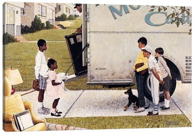 Moving In (New Kids In The Neighborhood) by Norman Rockwell Canvas Art