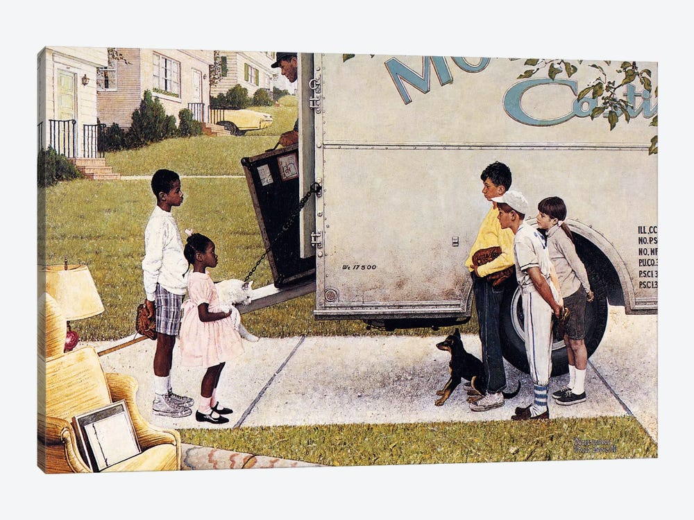Moving In New Kids The Neighborhood By Norman Rockwell 1 Piece Canvas