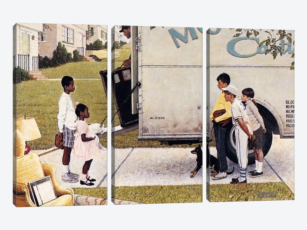 Moving In (New Kids In The Neighborhood) by Norman Rockwell 3-piece Canvas Art