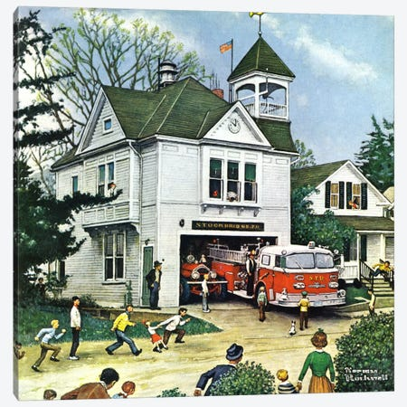 The New American LaFrance is Here (Firehouse) Canvas Print #1545} by Norman Rockwell Canvas Art