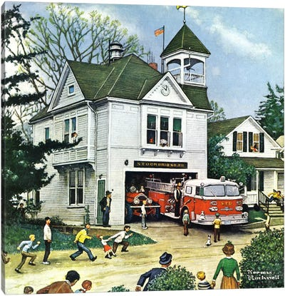 The New American LaFrance is Here (Firehouse) by Norman Rockwell Canvas Art
