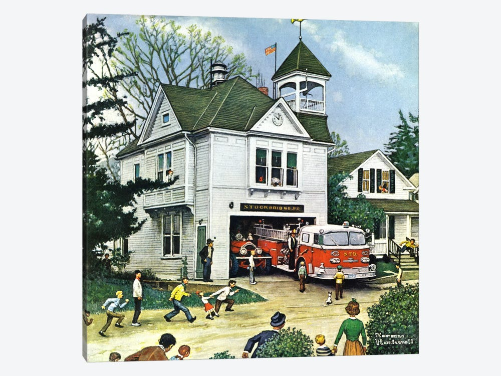 The New American LaFrance is Here (Firehouse) by Norman Rockwell 1-piece Canvas Art Print