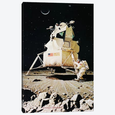 Man on the Moon Canvas Print #1548} by Norman Rockwell Art Print