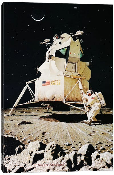 Man on the Moon by Norman Rockwell Art Print