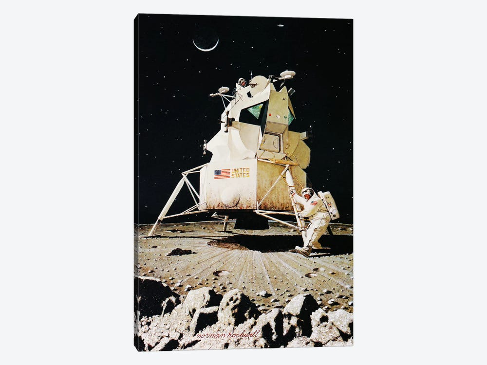 Man on the Moon by Norman Rockwell 1-piece Canvas Art