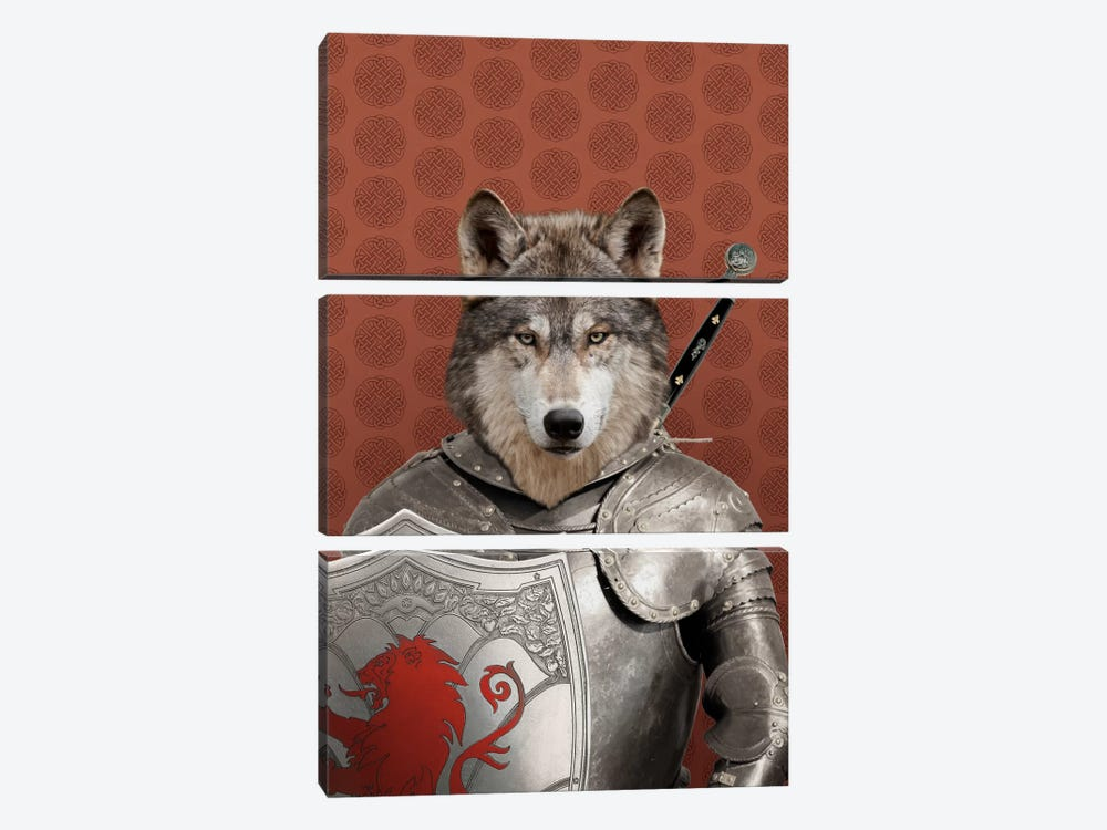 William the Wolf by 5by5collective 3-piece Canvas Print