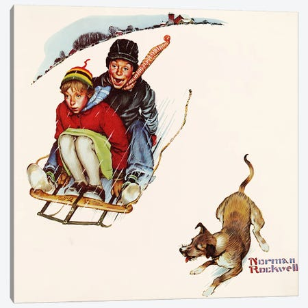 Downhill Daring Canvas Print #1550} by Norman Rockwell Canvas Wall Art