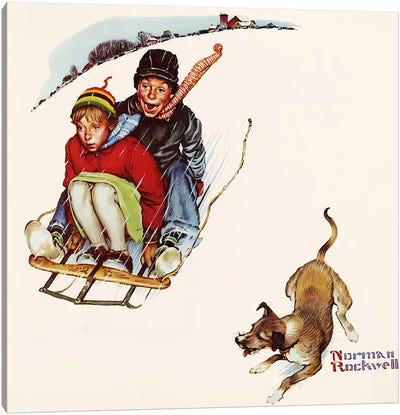 Downhill Daring by Norman Rockwell Canvas Wall Art