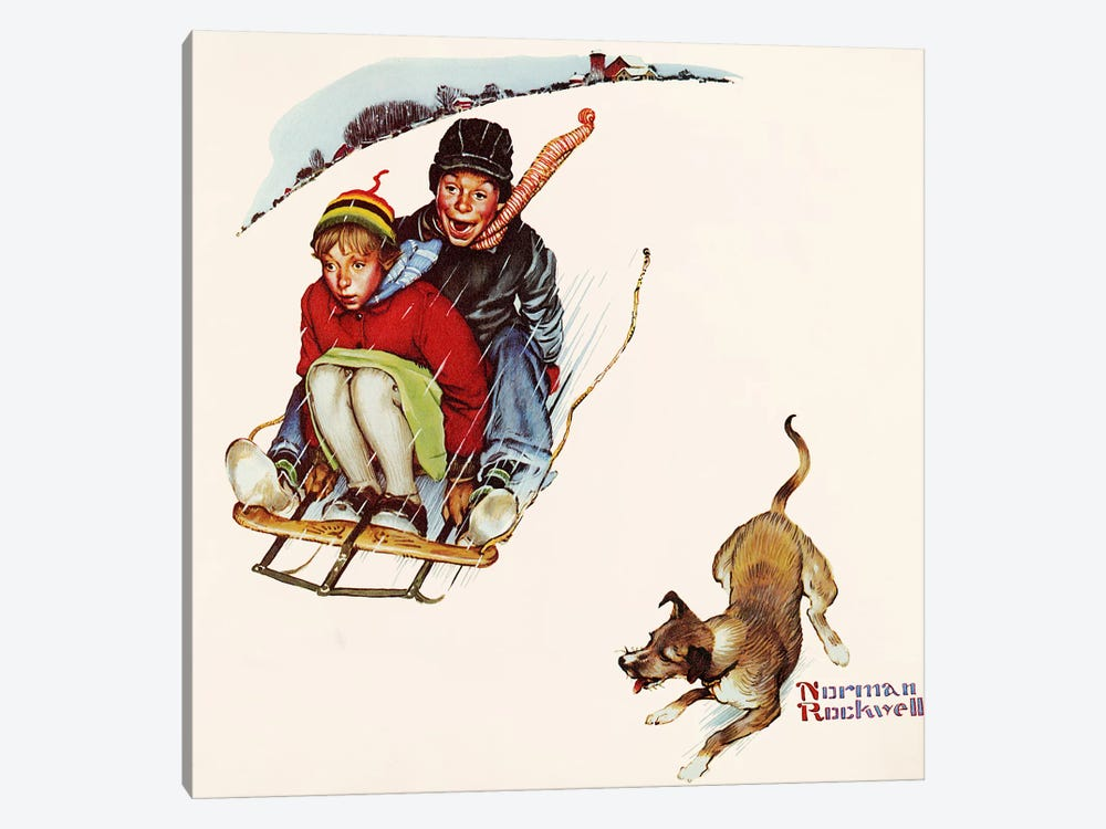 Downhill Daring by Norman Rockwell 1-piece Canvas Print