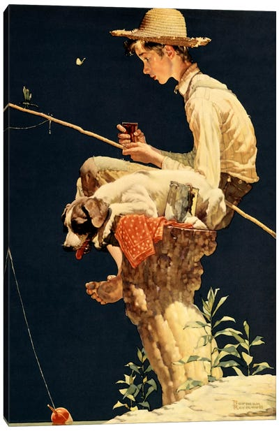 Boy Fishing by Norman Rockwell Canvas Wall Art