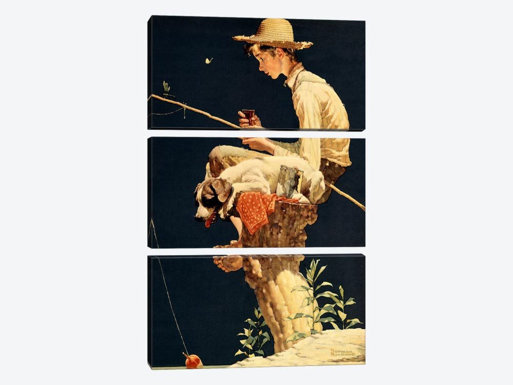 Boy Fishing by Norman Rockwell 3-piece Canvas Artwork