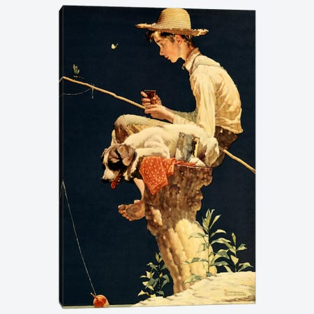 Boy Fishing Canvas Print #1551} by Norman Rockwell Canvas Wall Art