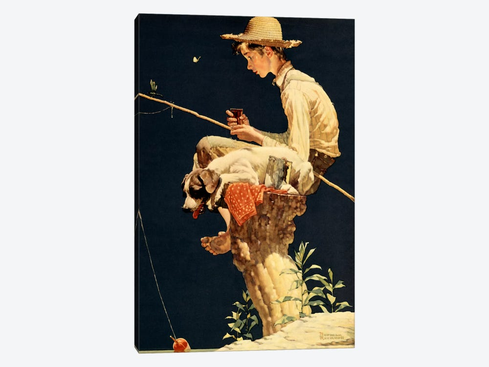Boy Fishing by Norman Rockwell 1-piece Canvas Art