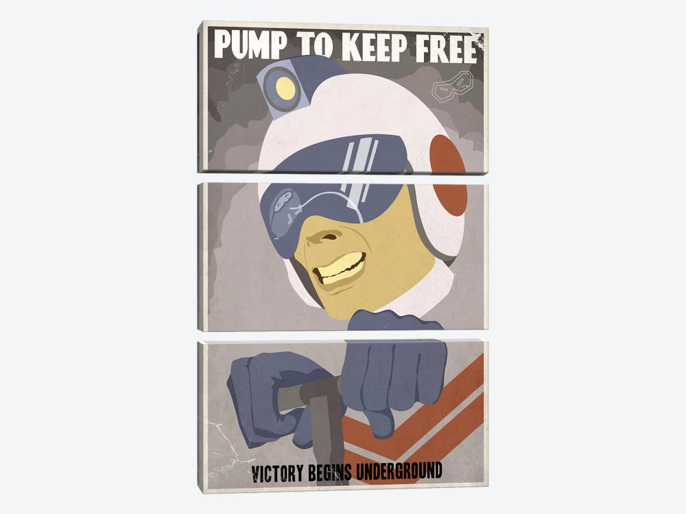 Pump to Keep Free by Steve Thomas 3-piece Art Print