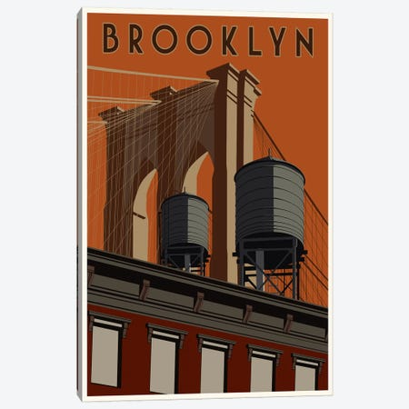 Brooklyn Travel Poster Canvas Print #15534} by Steve Thomas Art Print