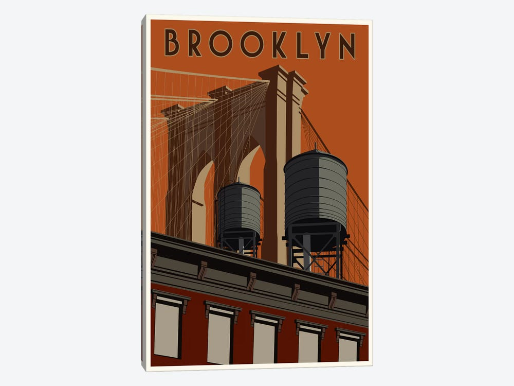 Brooklyn Travel Poster by Steve Thomas 1-piece Canvas Print