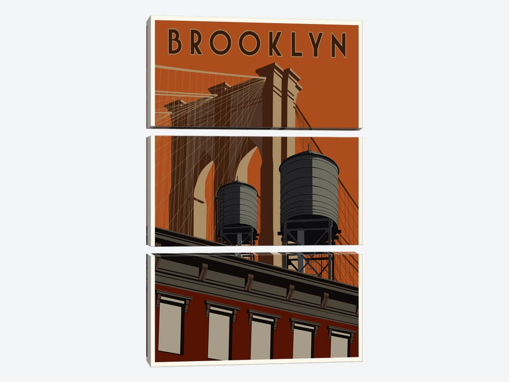 Brooklyn Travel Poster by Steve Thomas 3-piece Art Print