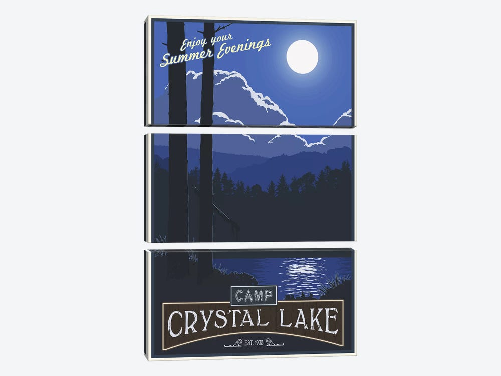 Camp Crystal Lake by Steve Thomas 3-piece Canvas Art Print