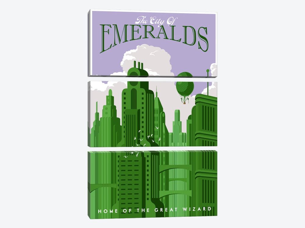 Emerald City Travel by Steve Thomas 3-piece Canvas Artwork