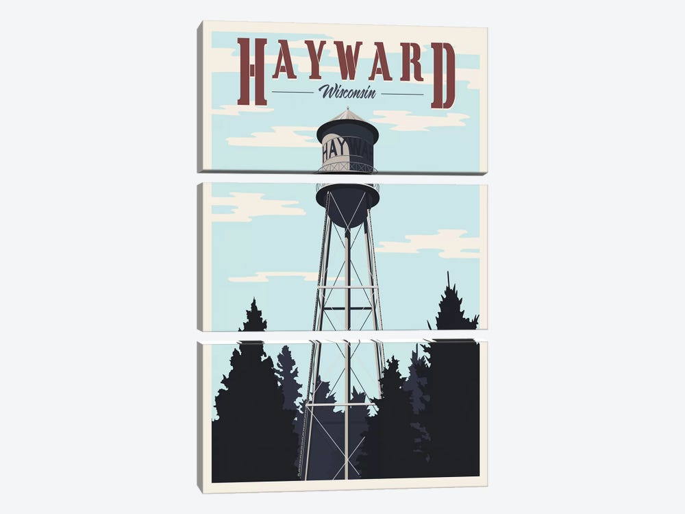 Hayward Water Tower by Steve Thomas 3-piece Canvas Print