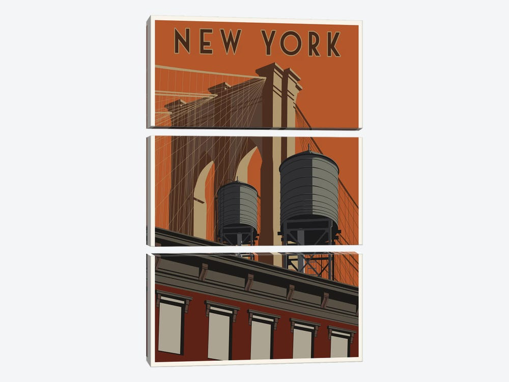 New York Travel Poster by Steve Thomas 3-piece Art Print