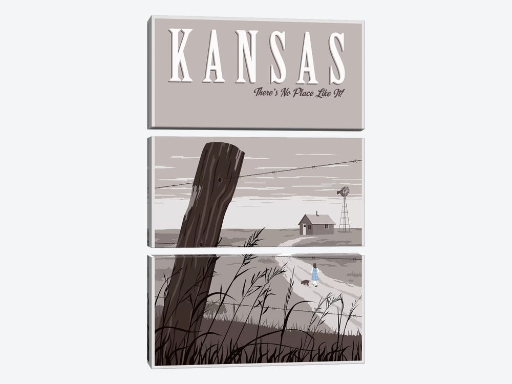 Wizard Oz Kansas Duo by Steve Thomas 3-piece Canvas Print