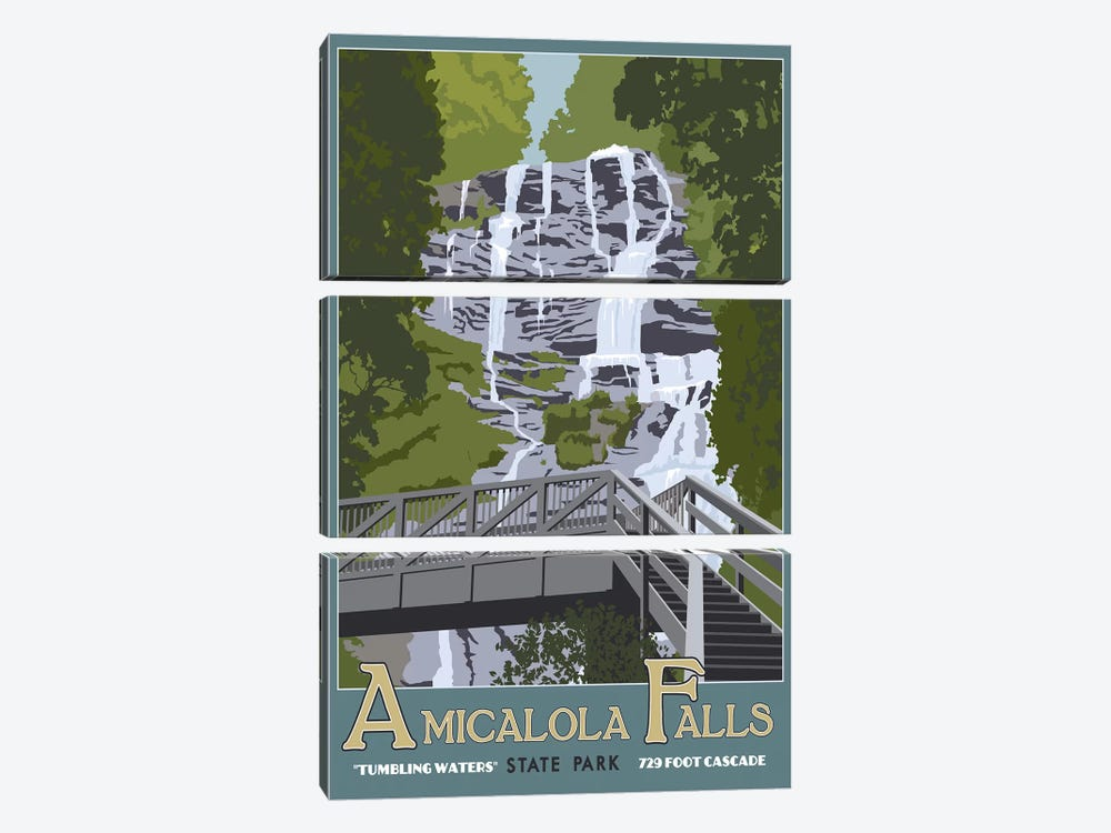 Amicalola Falls by Steve Thomas 3-piece Canvas Art