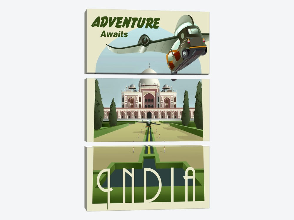 India by Steve Thomas 3-piece Canvas Wall Art
