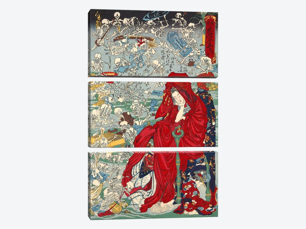 Jigoku Dayu (hell Courtesan) by Kawanabe Kyosai 3-piece Canvas Art